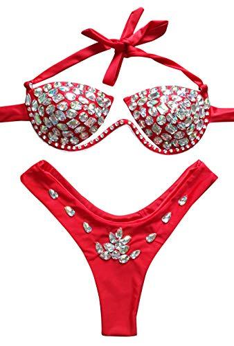 (Women Sexy Halter Push Up Low Waist Rhinestone Bikini Crystal Thong Swimsuits Beachwear (Red, Small))
