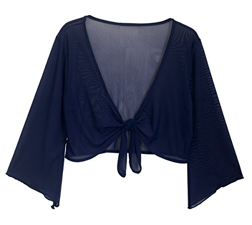 EVogues Plus Size Sheer Front Tie Bolero Shrug Navy - 3X