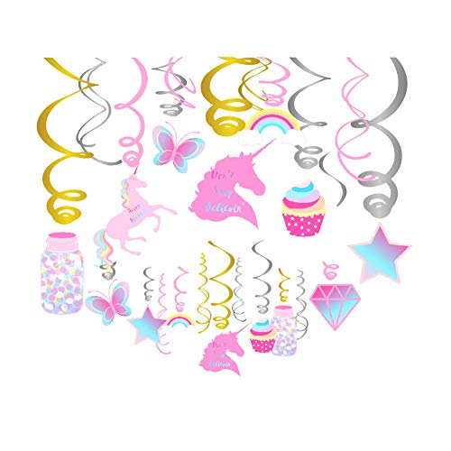 CC HOME Unicorn Party Decorations Unicorn Hanging Swirl Decorations Unicorn Birthday Party Supplies for Valentines Day,Wedding,Proposal,Bridal Shower,Baby Shower,Birthday Party Decoration 30 PCS,Pink ()