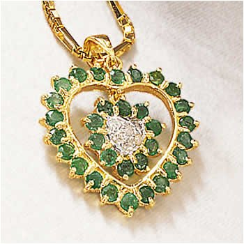 14k Gold Emerald And Diamond Heart In Heart Pendant