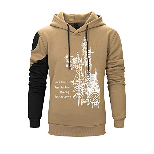 Rambling Casual Letter Printing Splicing Long Sleeve Leisure Men Hoodie Sweatshirt Blouse - Enjoy Different (Stylish Cotton Blends Letter)