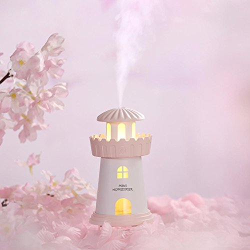ered Mini Lighthouse Air Aromatherapy Humidifier LED Lamp Ultra-Quiet Diffuser for Home Office (Pink) (Flowers Lighthouse)