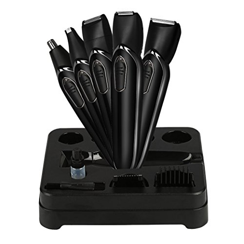 Ceenwes Electric Razor Rechargeable Mens Electric Shaver 5 in 1 Man's Grooming Kit Beard Trimmer Hair Clippers Nose Trimmer Lettering Knife with 2 Adjustable Guide Combs for Men Kids (Black)