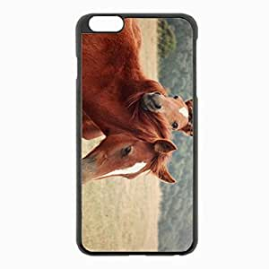 iPhone 6 Plus Black Hardshell Case 5.5inch - horse steam grass nature Desin Images Protector Back Cover