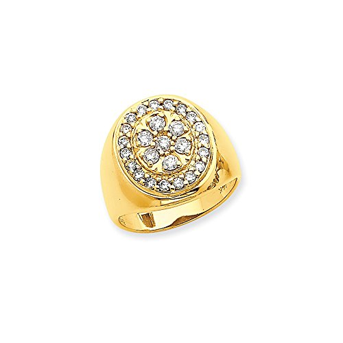 14k Fancy Polished Mens Diamond Ring Mounting - Base Only, No (Diamond Fancy Ring Mounting)