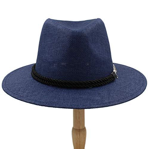(VAXT Place 2018 Men Women British Retro Jazz hat Fashion Panaman Hats Fedora Fedoras New Unisex Cotton Plaid Spring Autumn (Color : Draw Blue, Size : 56-58cm))