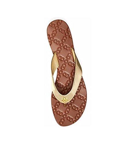 Tory Burch Monroe Metallic Thong Sandals Flip Flop (7.5, Spark Gold)