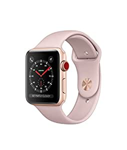 Apple watch series 3 Aluminum case Sport 42mm GPS + Cellular GSM unlocked (Gold Aluminum case with pink sport band)