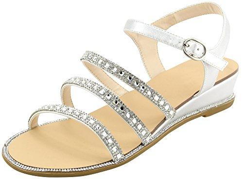 Cambridge Selezionare Donna Open Toe Fibbia Alla Caviglia Strappy Glitter Strass Cristallo Sandalo Con Zeppa Basso Argento