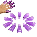 HiMo 10PC Plastic Acrylic Nail Art Soak Off Cap Clip UV Gel Polish Remover Wrap Tool (purple)