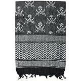 Black Skulls Design Stylish Tactical Shemagh Sun Desert Scarf - 42 x 42, Keffiyeh/Kufiya