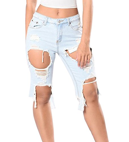 FAROOT Women Casual Denim Ripped Hole Destroyed Distressed Short Jeans Shorts (2XL, Light Blue) by FAROOT (Image #2)