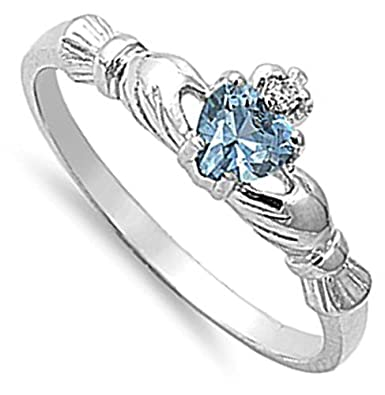 Sterling Silver Irish Claddagh Friendship Ring Simulated Aquamarine Heart Sizes 1-9 Sac Silver