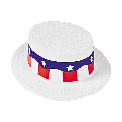 Fun Express - Adult Skimmer Hat W/red/White/Blue Band for Fourth of July - Apparel Accessories - Hats - Party Hats - Fourth of July - 12 Pieces]()