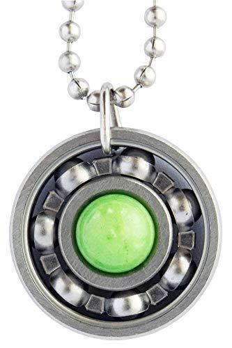 Green Apple Jade Roller Derby Skate Bearing Pendant Necklace (18