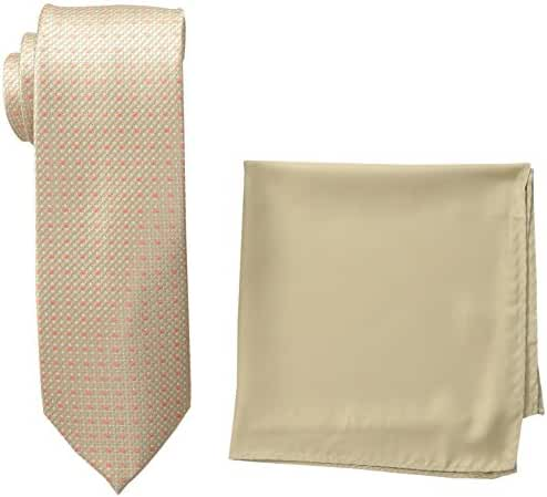 Steve Harvey Men's Neat Woven Necktie and Solid Pocket Square