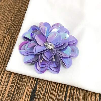 (Lace Crafts - 10 Pcs/Lot F Mini Sequined Clothes Lace Patch Pants Dress Applique Beaded Collar DIY Hand Sew Accessories RS605 - (Color: Purple))