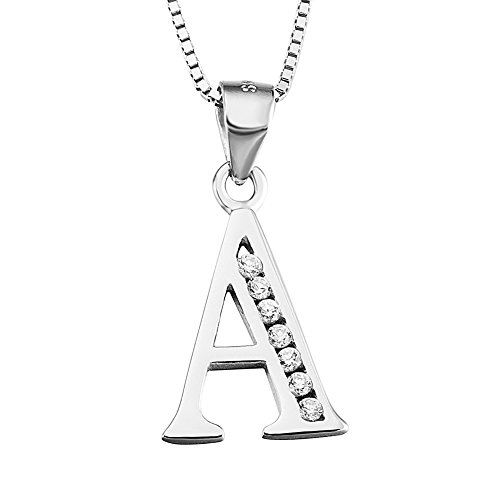 YFN+S925+Sterling+Silver+26+Letters+Alphabet+A+with+Cubic+Zirconia+Pendant+Necklace+%28Alphabet+A%29