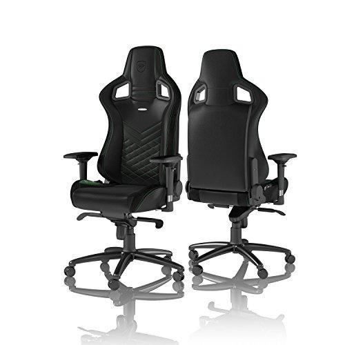 adelstolar EPIC spelstol – kontorsstol – skrivbordsstol – PU konstläder – 120 kg – 135 ° avslappningsbar – ryggstödsdyna – racerstol – svart/grön