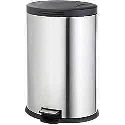 Stainless Steel Oval 40-Liter Pedal Trash Bin