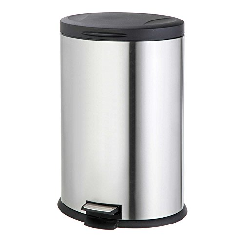 Stainless Steel Oval 40-Liter Pedal Trash Bin by Home Zone