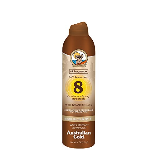 Australian Gold Continuous Spray Sunscreen with Instant Bronzer, Immediate Glow & Dries Fast, Broad Spectrum, Water Resistant, SPF 8, 6 - 8 Spray Bottle Oz Lotion