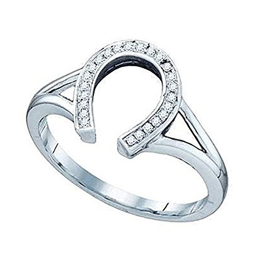 10k Gold Horse - Dazzlingrock Collection 0.08 Carat (ctw) 10K Round White Diamond Right Hand Horse Shoe Ring, White Gold, Size 5.5