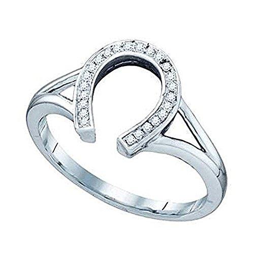 Diamond Ladies Ring Horseshoe (Dazzlingrock Collection 0.08 Carat (ctw) 10K Round White Diamond Right Hand Horse Shoe Ring, White Gold, Size 7)