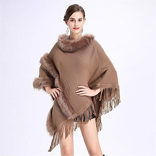 e18abcc26668 Avvolgono Fur Donne colore Tassel Nero Cappotto Poncho Abiti Le Scialle  Inverno Da Sera Gimitunus Sciarpe Cachi autunno Per ...