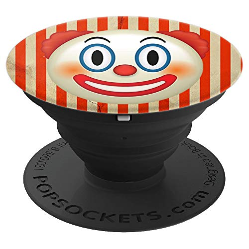 Emoji Circus Clown Red Nose Painted Face Happy Funny - PopSockets Grip and Stand for Phones and Tablets]()