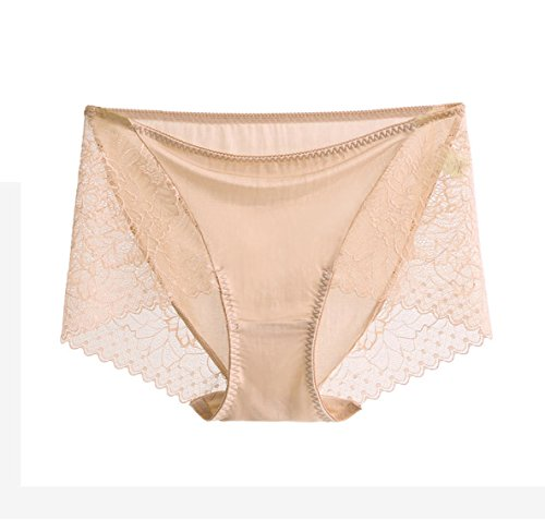 SilRiver Women's 100% Silk Lace Panties, Sexy Underwear, Breathable and Comfortable Hipster, Recommend for Sensitive Skin (X-Large, Nude)