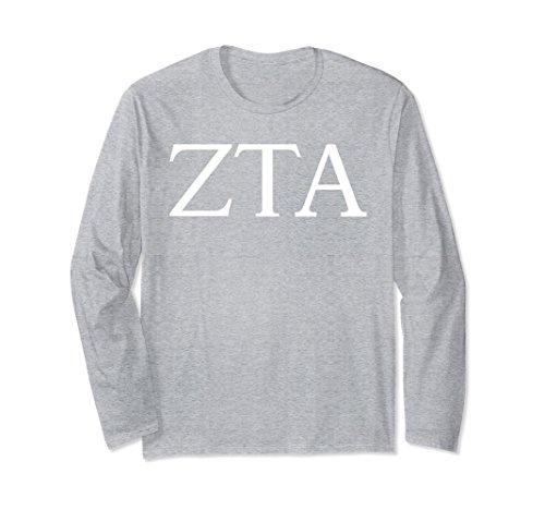 (Unisex Zeta Tau Alpha Long Sleeve Shirt College Sorority Fraternity Medium Heather Grey)