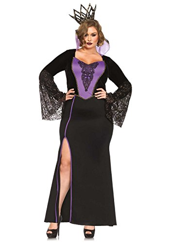 Leg Avenue Women's Plus-Size 2 Piece Evil Queen Costume, Black/Purple, 1X]()