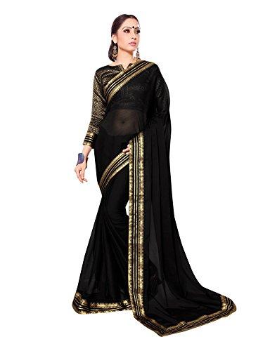 Black Silk Chiffon Dress (Viva N Diva Black Colored Royal Chiffon Saree With Unstitched Blouse Piece.)