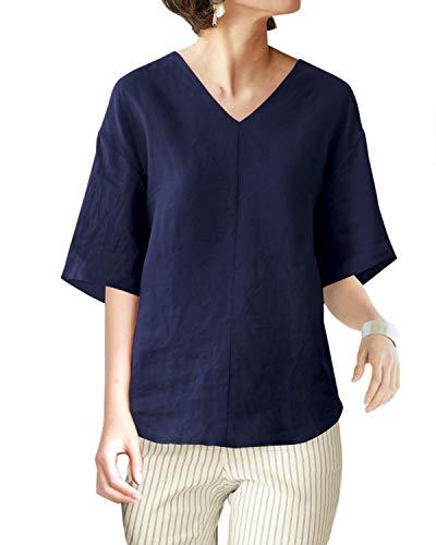 - IXIMO Women's 100% Linen V Neck Ruffle Short Sleeve Blouses Elegant High Low Tops Shirts Navy L