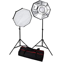 Fotodiox 2-Light LED Photo and Video Softbox Continuous Dimmable Lighting Kit (LV460); 24-inch Octagon Removable Softbox and Diffusers; Adjustable Light Stands & Travel Bag all in one Box