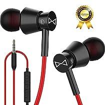 Marsno M2 Auricolari Cuffiette Stereo con Microfono, completamente in metallo, Microfono e controllo del volume, Alta definizione, Isolamento Acustico, Bassi Potenti e profondi, per Android e iPhone