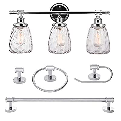 Globe Electric 51416 5-Piece Lauzon All-in-One Bathroom Set, 3-Light Vanity Light, with Watered Glass Shades, Towel Bar, Towel Ring, Robe Hook, Toiler Paper Holder, Chrome