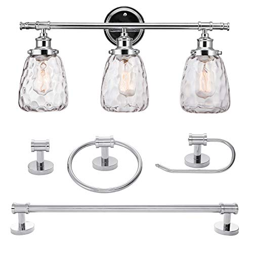 (Globe Electric 51416 5-Piece Lauzon All-in-One Bathroom Set, 3-Light Vanity Light, with Watered Glass Shades, Towel Bar, Towel Ring, Robe Hook, Toiler Paper Holder, Chrome)