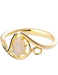 18K Gold Opal Ring Promise Band For Women Engagement Set Australian Natural Pear Cut Solitaire