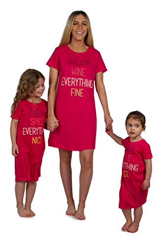 Peace Love & Dreams Mommy & Me Matching Short Sleeve Nightgowns - Pink/Red (Mom, Small) -