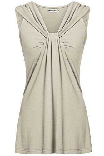 Nandashe Women Casual Solid Workout Yoga Tank Tops Beige Extra Large