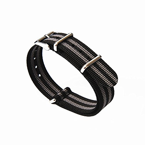 Watch Bands NATO Straps Replacement Watchbands Ballistic Nylon Straps with Stainless Steel Buckle(18mm, Black/Smoke (Bond))