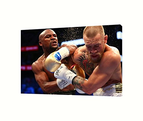 Mayweather vs McGregor Fight Ready To Hang Framed Gallery Wrapped Canvas Print 1.25