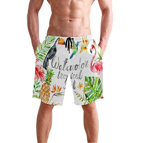 Cocoa trade Mens Swim Trunks, Tropical Beach Board Shorts with Pockets Casual Athletic Short S