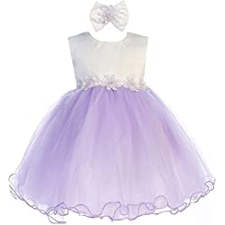 Lavender Baby Girls Tulle Dress Christening Baptism Party Formal Flower Girl Dresses 6-12 Months