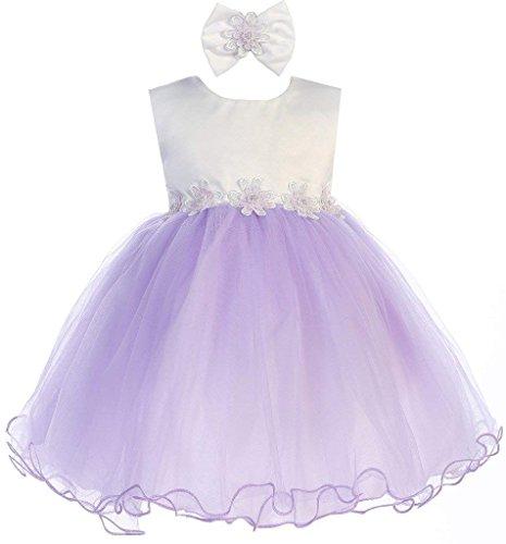 Dress Satin Christening Tulle (Lavender Baby Girls Tulle Dress Christening Baptism Party Formal Flower Girl Dresses 12-18 Months)