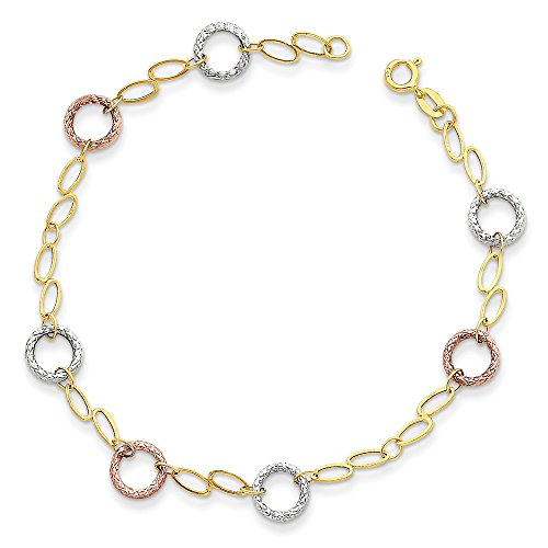 14k Tri Color Yellow White Gold Circles Bracelet 7.25 Inch Fancy Fine Jewelry Gifts For Women For Her ()