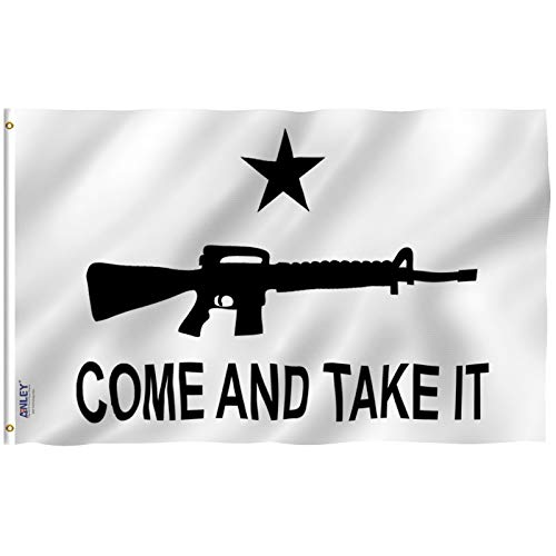 Anley Fly Breeze 3×5 Foot M-4 Gonzales Come and Take It Flag – Vivid Color and UV Fade Resistant – Canvas Header and Double Stitched – M4 Carbine Flags Polyester with Brass Grommets 3 X 5 Ft