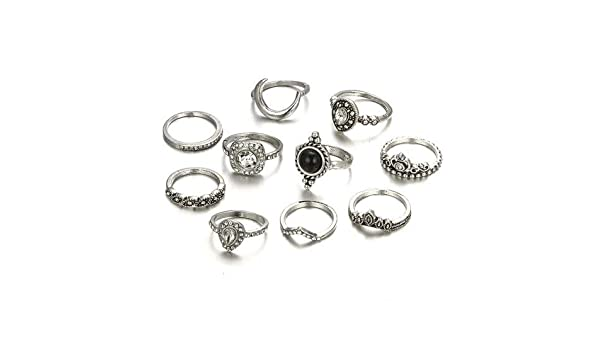 PAPPET Opal Knuckle Ring 10pcs//Set Vintage Antique Silver Moon Heart Crown Opal Stone Finger Midi Finger Rings Set for Women Bohemian Jewelry Gifts